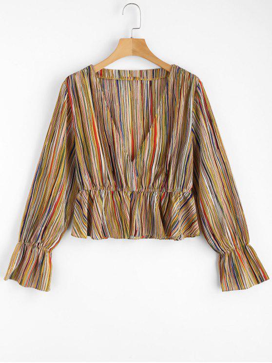 best Striped Low Cut Blouse - MULTI L
