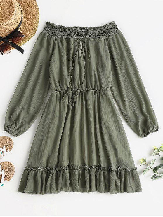 Robe Longues Manches et à Epaules Dénudées - Vert Camouflage L