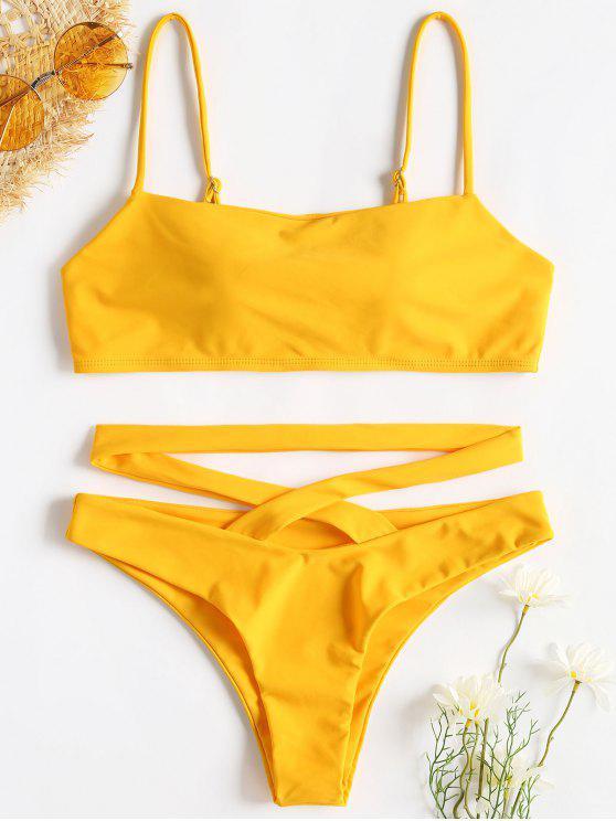 Bikini Incrociato Con Cinturino Da Spaghetti - Giallo Rubber Ducky L