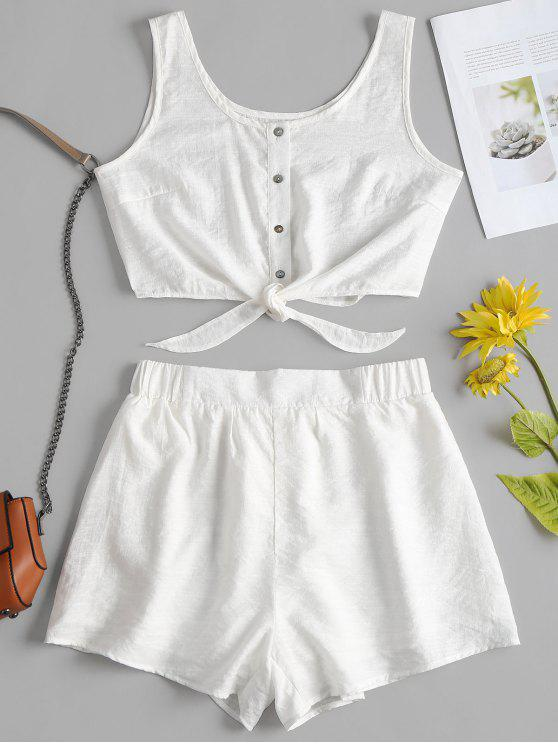 buy Sleeveless Button Up Crop Top and Shorts Set - WHITE S
