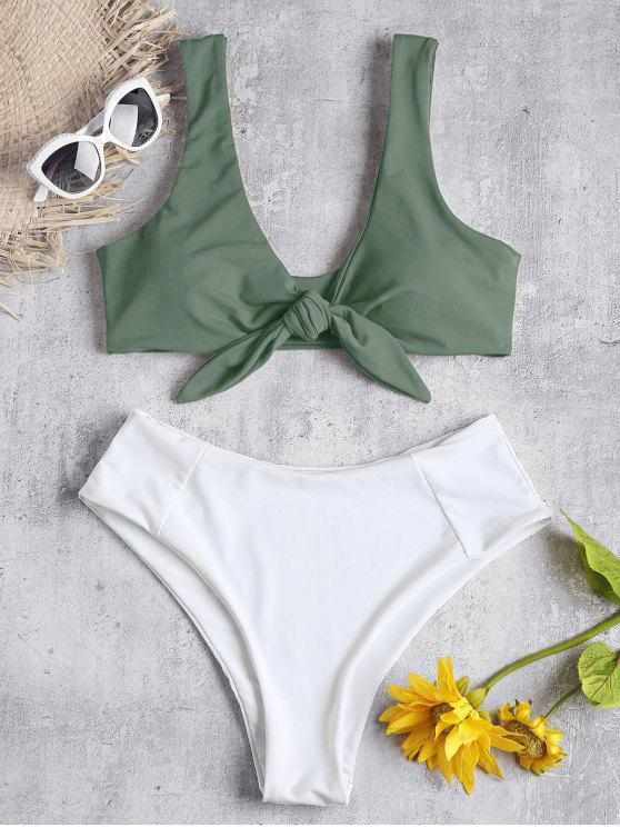 affordable Two Tone Tied High Waisted Bikini Set - CAMOUFLAGE GREEN S