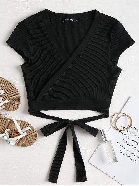 Camiseta acanalada - Negro L