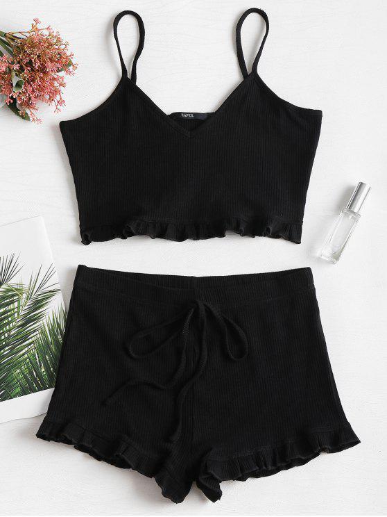 Knit Frill Trims Cami Shorts Set - Negro XL