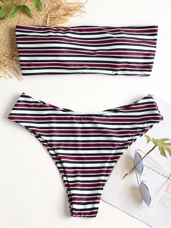 fashion Multi-Striped Bandeau Bikini Set - MULTI L