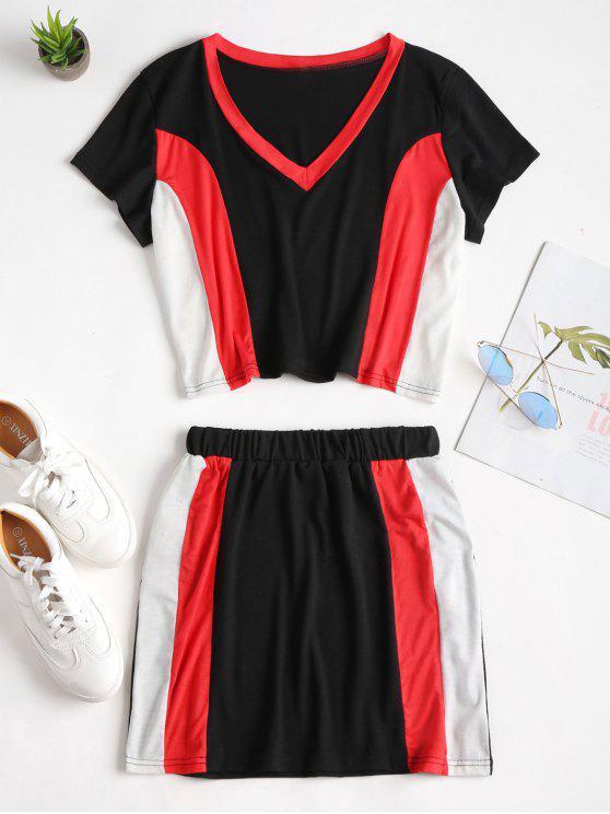 unique Color Block T-Shirt Skirt Two Piece Set - MULTI S