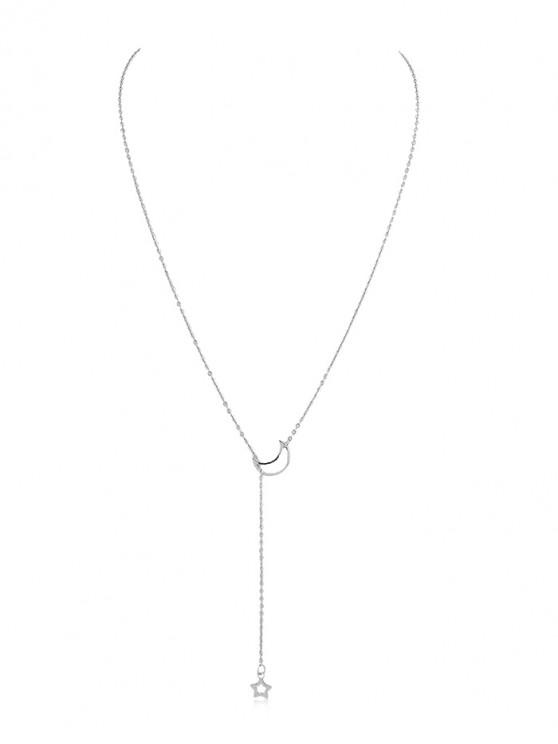 shops Star Moon Design Decoration Chain Necklace - SILVER