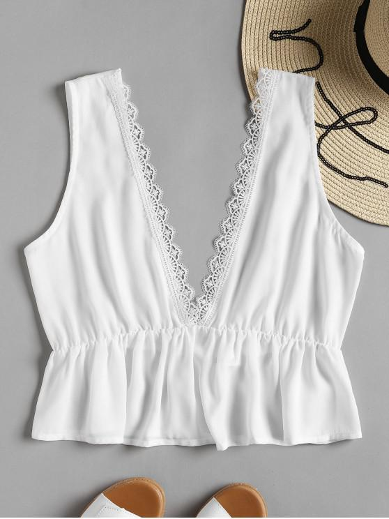 fashion Plunging Neck Lacework Tank Top - WHITE M