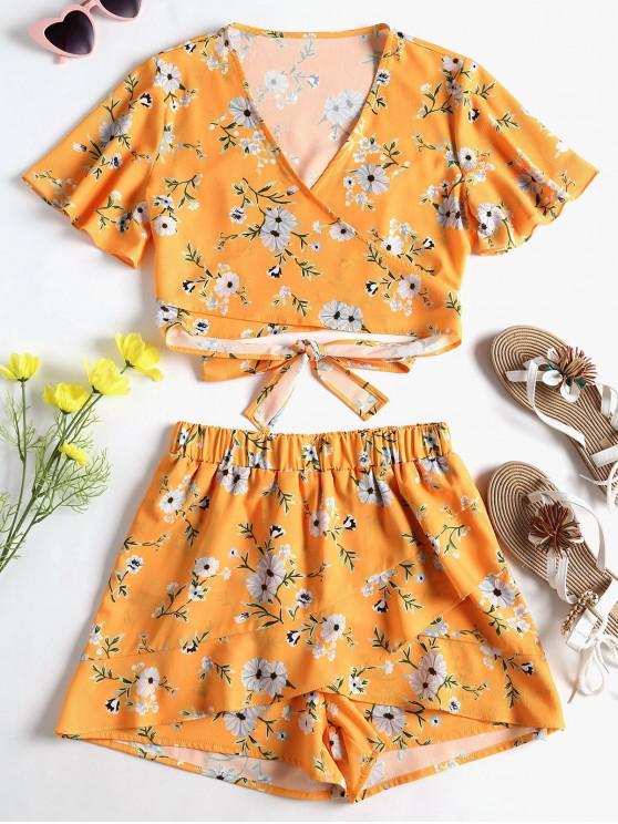 Conjunto de Shorts com Embrulho Floral Wrap - Abelha Amarela M