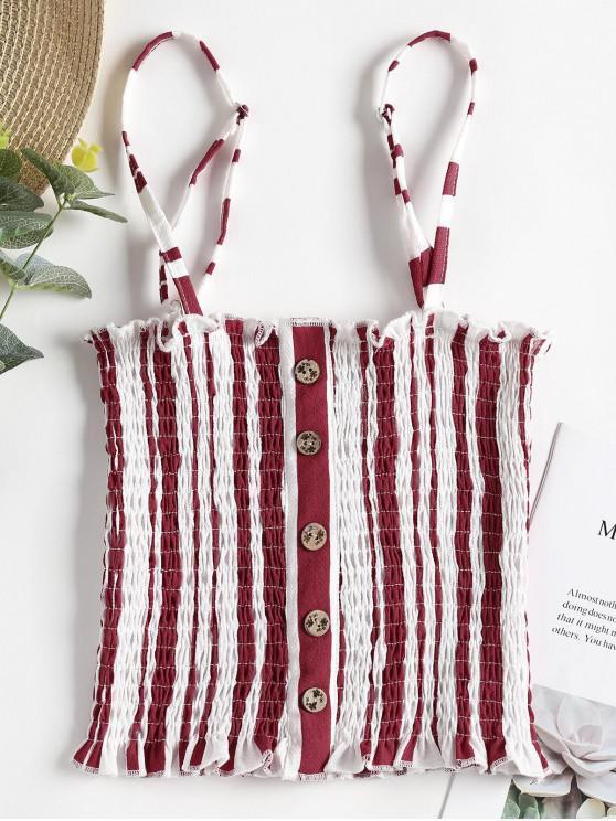women Stripes Smocked Tank Top - CHERRY RED S