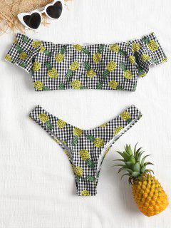 Schulterfrei Gingham Ananas Bikini Set - Multi L