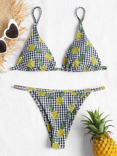 Gingham Ananas Tanga Bikini-Set - Multi L