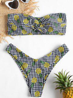 Gingham Pineapple Twist Bandeau Bikini - Multi S