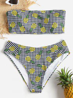 Gingham Ananas Bandeau Bikini Set - Multi L
