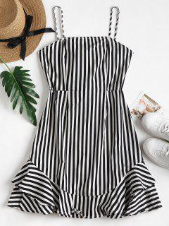 Cami Striped Mini Ruffle Sundress - Black S