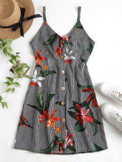 Vestido De Rayas Con Botones Florales En La Parte Delantera Cami Mini - Multicolor Xl