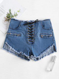 Lace Up Frayed Denim Shorts - Jeans Blue S