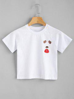 Funny Dog Embroidered Crop Tee - White M