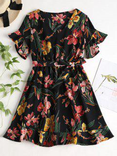 Belted Floral Print Tea Dress - Black S
