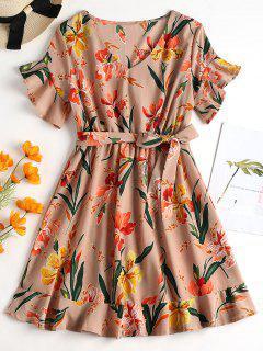Belted Floral Print Tea Dress - Rosy Brown L