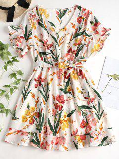 Belted Floral Print Tea Dress - White S