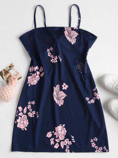 Mini-robe En Camisole à Motif Floral Et Encolure En Tablier  - Bleu Profond S