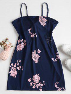 Apron Neck Floral Cami Mini Dress - Deep Blue M