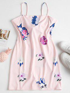 Apron Neck Floral Cami Mini Dress - Pink L