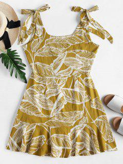 Tie Shoulder Palm Print Ruffle Mini Dress - Harvest Yellow L