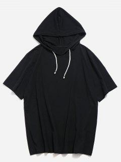 Drawstring Short Sleeve Hooded T-shirt - Black L