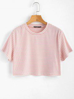 Striped Ribbed Tee - Pink Bubblegum S