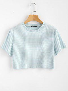 Striped Ribbed Tee - Light Blue S