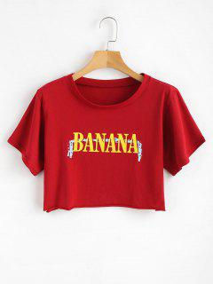 Crop Letter Print Tee - Love Red