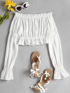 Schulterfreie Bluse Mit Rüschen - Weiß L