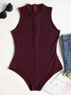 Sleeveless Mock Neck Bodysuit - Red Wine S