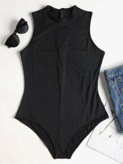 Sleeveless Mock Neck Bodysuit - Black M