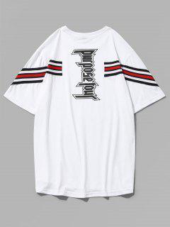 Letter Print Stripe Patch T-shirt - White Xl