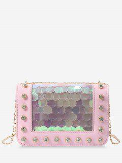 Metal Chain Rhinestone Sequins Decorated Crossbody Bag - Light Pink