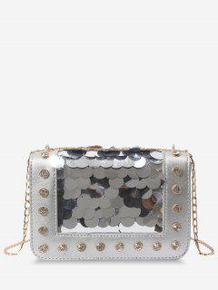 Metal Chain Rhinestone Sequins Decorated Crossbody Bag - Silver