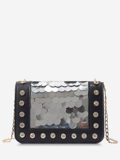 Metal Chain Rhinestone Sequins Decorated Crossbody Bag - Black