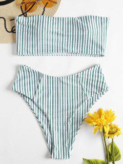 High Waisted Striped Bandeau Bikini Swimwear - Green M
