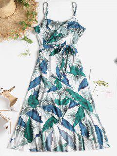 Vestido A Media Pierna Con Estampado De Hojas De Palma - Multicolor M