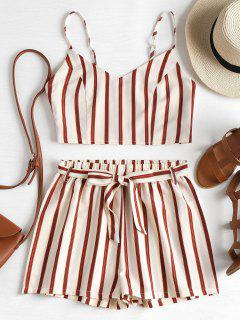 Striped Cami Belted Shorts Set - Cornsilk L