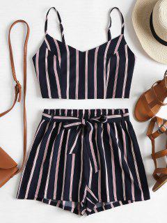 Striped Cami Belted Shorts Set - Dark Slate Blue L