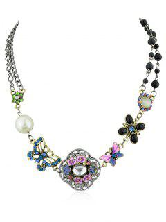 Flower Butterfly Design Faux Pearl Beads Rhinestone Necklace - Silver