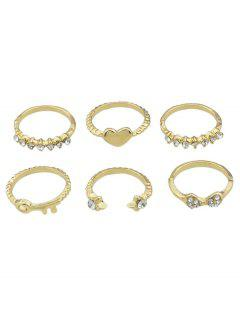 Heart Rhinestone Design Decoration Ring Set - Gold One-size