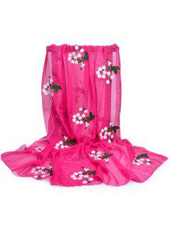 Floral Embroidery Silky Shawl Scarf - Rose Red