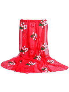 Floral Embroidery Silky Shawl Scarf - Fire Engine Red