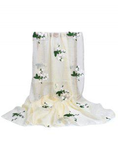 Floral Embroidery Silky Shawl Scarf - Beige
