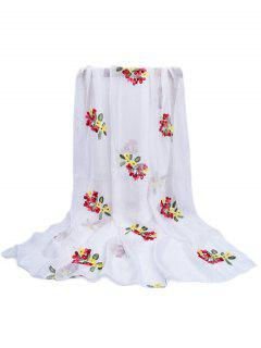 Floral Pattern Embellished Silky Long Scarf - White