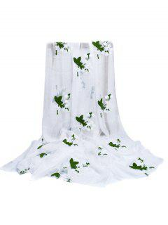 Floral Embroidery Silky Shawl Scarf - White